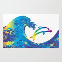 hokusai Area & Throw Rugs featuring Hokusai Rainbow & dolphin_C by FACTORIE
