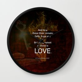 1 Corinthians 13:13 Bible Verses Quote About LOVE Wall Clock