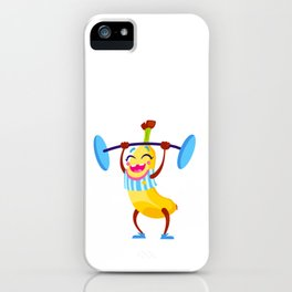 Gym banana cute character iPhone Case