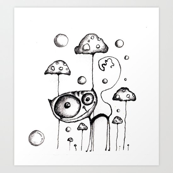 poison mushrooms (white) Art Print