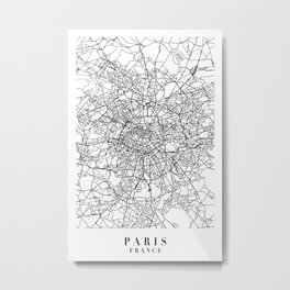 Paris France Street Map Minimal Metal Print