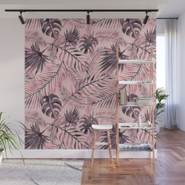 Jungle leaves pattern - Pink Wall Mural