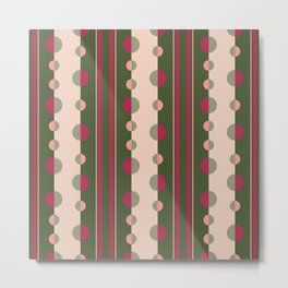Circles and Stripes in Olive Green and Pink Metal Print