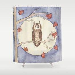 Long-Eared Owl Watercolor Shower Curtain