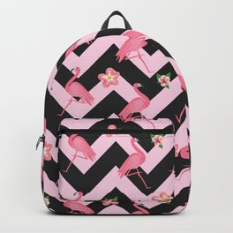Black and pink Zig Zag With Flamingos and hawaiian flowers Pattern Backpack