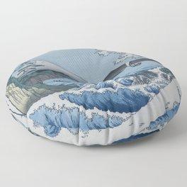 Sea Off Satta - Japanese Woodblock Print by Hiroshige Floor Pillow