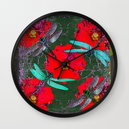ANTIQUE CRACKLED  BLUE DRAGONFLIES ON RED HOLLYHOCK FLOWERS Wall Clock