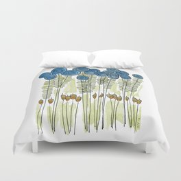 Tall skinny blue flowers with cattails Duvet Cover
