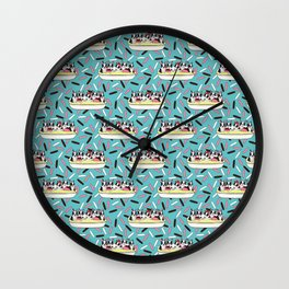 Banana Split Bostons on Sprinkles Wall Clock