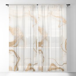 Ivory Gold Swirls Copper Marble Sheer Curtain