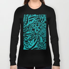 Hawaiian Teal Tribal Turtles Long Sleeve T-shirt