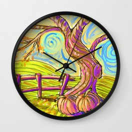 Fall On The Hill Wall Clock