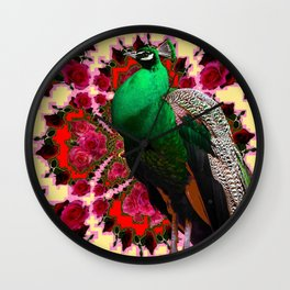 GREEN PEACOCK & RED-CREAM COLOR GEOMETRIC ART Wall Clock