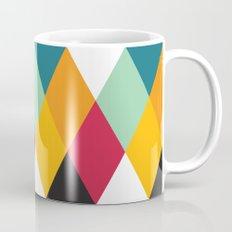 Yellow Orange Red Blue Black Diamond Pattern  Mug