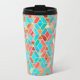 Melon and Aqua Geometric Tile Pattern Metal Travel Mug