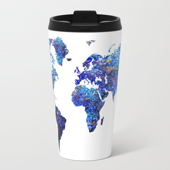 World Map blue purple Metal Travel Mug