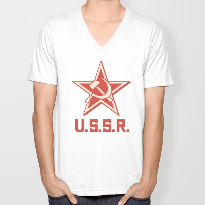 star, crossed hammer and sickle - ussr poster (socialism propaganda) Unisex V-Neck