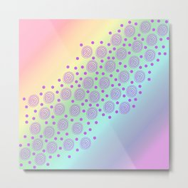 Circles in Circles on Pastel Rainbow Metal Print