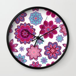 Flower retro pattern. Purple and blue flowers on white background. Wall Clock