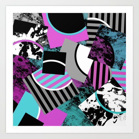 Cluttered Sqaures - Abstract, geometric, stripes, pink, cyan, blue, textured, black, white, arcs Art Print