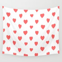 hearts Wall Tapestries featuring Hearts by Cute Cute Cute