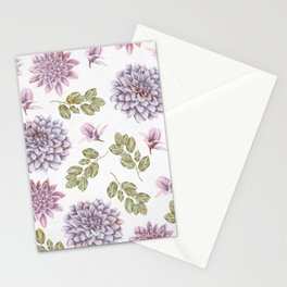 Lavender Rose Garden Floral Pattern Stationery Cards