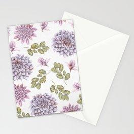 Lavender Rose Garden Floral Pattern Stationery Cards