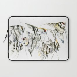 Fish Zebra Design, Angelfish aquarium design, underwater scene, black and white Laptop Sleeve