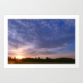 Blue Sky  on Sunrise in Sunlight Art Print