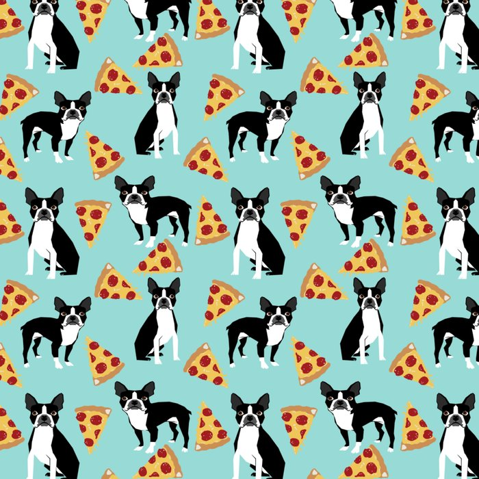 Boston Terrier pizza party cute pet portraits junk food pizza slices with boston terrier pattern  Leggings