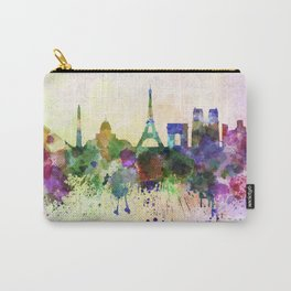 Paris skyline in watercolor background Carry-All Pouch