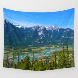 Overlooking the Athabasca River from the Morrow Peak Hike in Jasper National Park, Canada Wall Tapestry