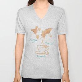 Coffee, Travel, Repeat Unisex V-Neck