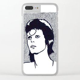 Starman, with larger white border Clear iPhone Case