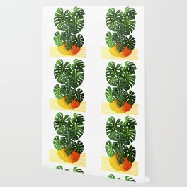 Monstera Swiss Cheese Plant In Mid Century Pot Wallpaper