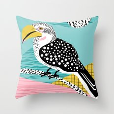 What - memphis tropical retro neon throwback 1980s 80s style hipster abstract bird vacation nature Throw Pillow