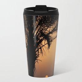 sunset with palm tree in turgutreis Travel Mug