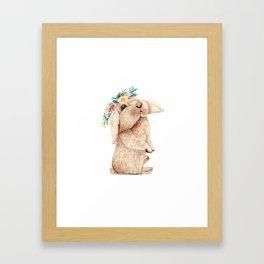 Pretty Floral Garland Bunny Framed Art Print