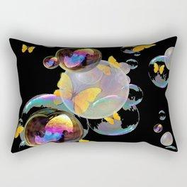 SURREAL GOLDEN YELLOW BUTTERFLIES  & SOAP BUBBLES Rectangular Pillow