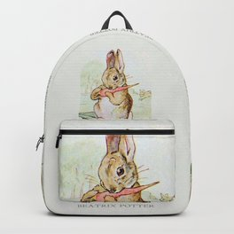 Peter Rabbit eating his carrot by Beatrix Potter Backpack