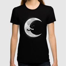 Moon Hug SMALL Womens Fitted Tee Black