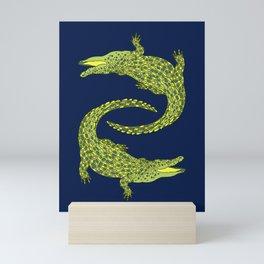 Crocodiles (Deep Navy and Green Palette) Mini Art Print