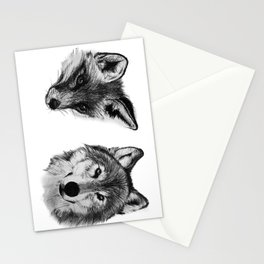 Vulpes vulpes, canis lupus Stationery Cards