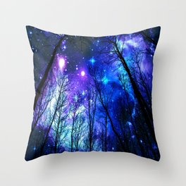 black trees purple blue space Throw Pillow