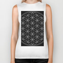 Flower of Life Black & White Biker Tank