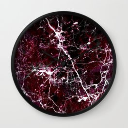 Modern abstract burgundy white stylish marble Wall Clock