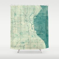 milwaukee Shower Curtains featuring Milwaukee Map Blue Vintage by City Art Posters