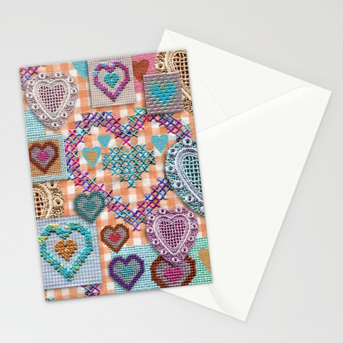 Open Hearted - Peach Gingham Stationery Cards