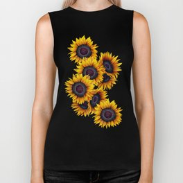 Sunflowers yellow navy blue elegant colorful pattern Biker Tank