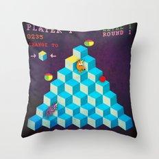 Qbert Unicorn Throw Pillow